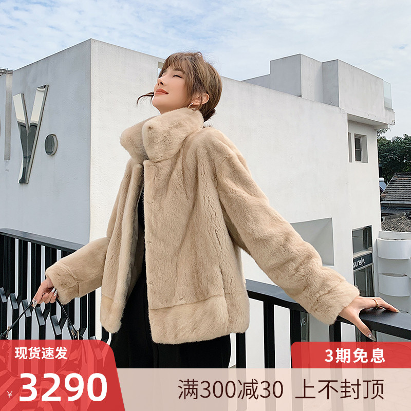 Imported velvet fur fur coat female Haining 2020 new young fashion short square collar jacket