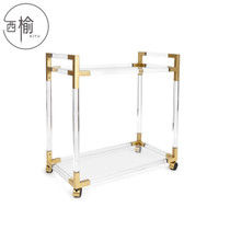 Neoclassical model room acrylic dining car transparent plexiglass trolley designer Section Side cabinets