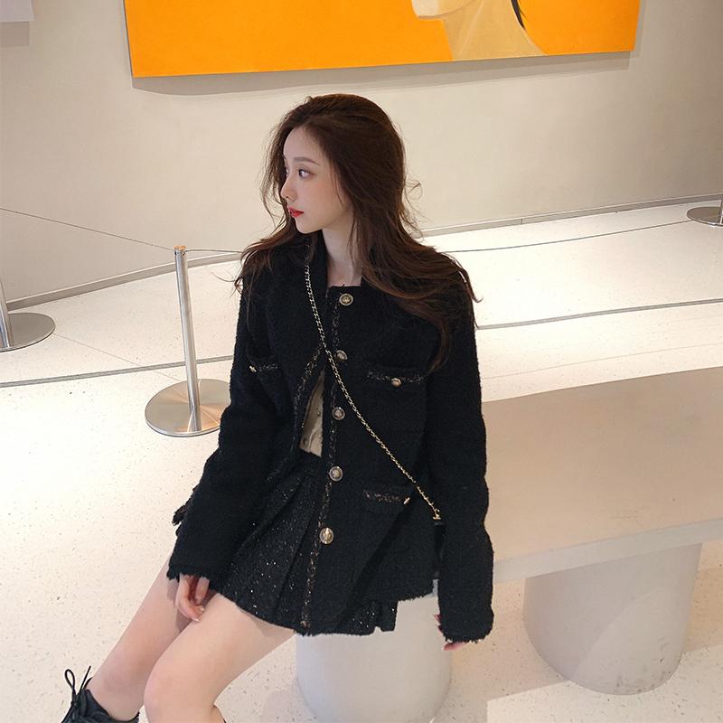 csk cupid heiress black small fragrance plus velvet gold silk coat female autumn winter temperament square collared fur coat