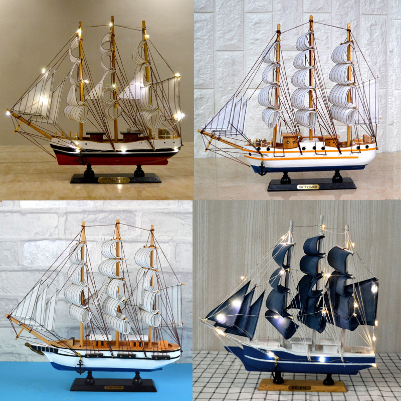 Mediterranean Ocean Sailing with LED Lamp Sailing Model Solid Wood Decoration Crafts Children's Studio Arrangements