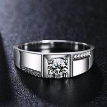 Chow Tai Fook Pt950 platinum ring Mens diamond ring 18K white gold diamond wedding ring Simple light luxury mens ring