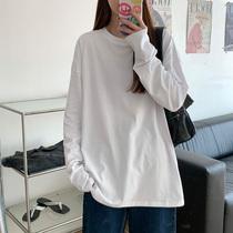 2021 summer new long sleeve T-shirt women loose white cotton base shirt autumn dress interior top autumn pure white t