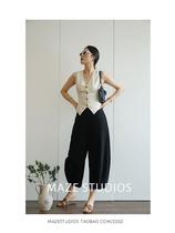 Maze Studios French retro frock style classic Tencel hemp cream white waistcoat inside a single wear is wonderful