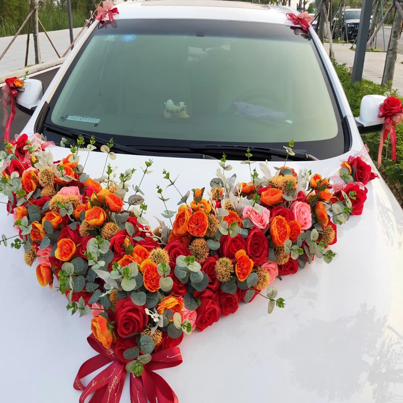Mori big V main knot wedding car decorative head flower set simulation Yugali rose creative three-dimensional wedding supplies