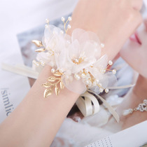 High-end super fairy beautiful crystal flower bride bride bridesmaid sister honey group wrist flower hand flower champagne knot wedding