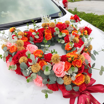 Original hand-crafted Sen main wedding car head flower decoration set three-dimensional simulation rose wedding car flower fleet layout