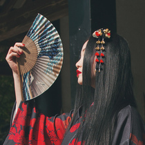 Red family Japanese style and wind Shenlaichuan bamboo fan
