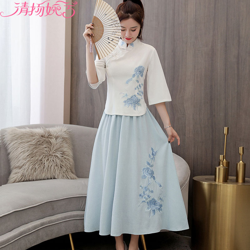 Antique Han elements cheongsam modified dress set girl retro Republic student Han clothing female spring Chinese style