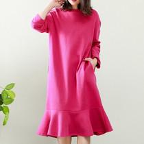 Coton linge haut de gamme grande taille femme automne nouvelle fille queue de poisson jupe longue robe