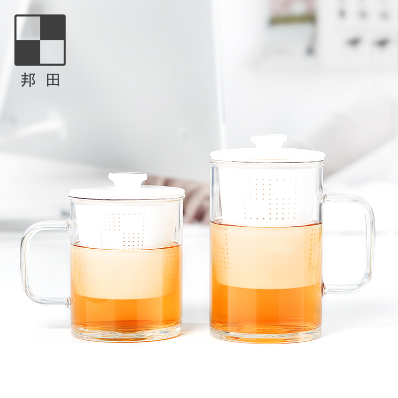 Bonta tea water separation tea cup with cover glass glass water cup amnio-fat jade ceramic filter mug three-piece cup