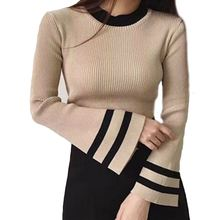 bottoming shirt trumpet sleeve knit sweater in Spring Autumn