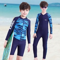 Childrens two-piece swimsuit in the big child long-sleeved sun protection boys swimming trunks set handsome teen jumpsuit