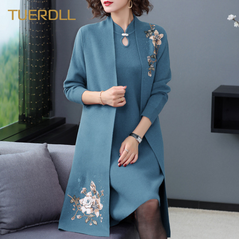2020 new winter coat sweater two-piece set of middle-aged and elderly womens foreign dress mother spring and autumn noble suit