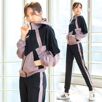 Autumn and winter sports fitness set women loose size mm Korean version of running fitness clothes womens long-sleeved yoga suit four-piece set