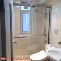 Make 304 stainless steel shower room pull door dressing room glass partition a glyph screen bathroom move door