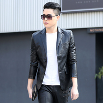 Leather mens 2020 spring and autumn new Korean version of the short slim leather suit youth trend casual jacket jacket