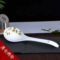 Shun Xiang Ceramic spoon ceramic spoon large spoon long handle household spoon pure white large spoon genuine