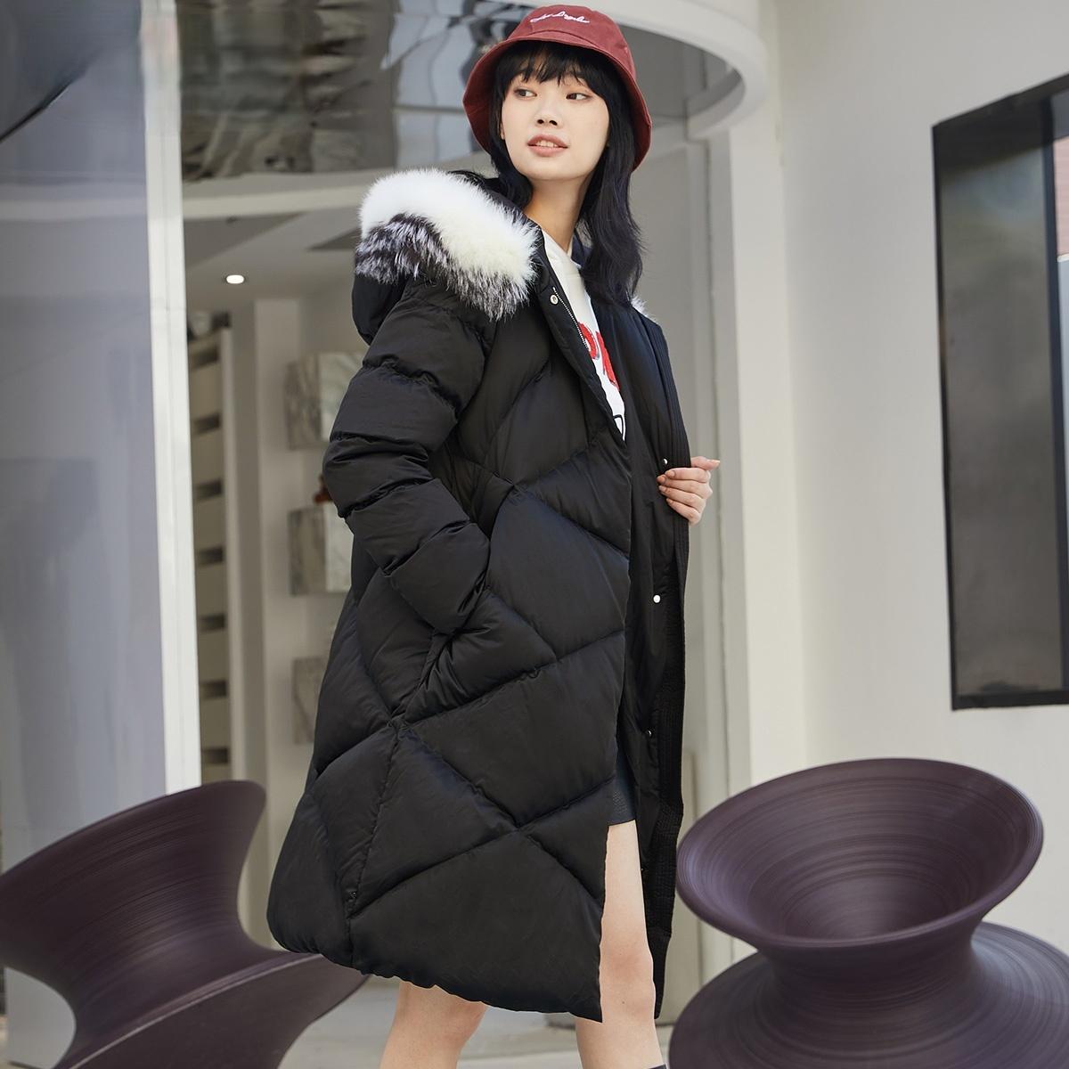 OnLYs new fox fur collar white duck down long down jacket girl) 119312509