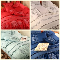 Foreign Trade original single quality export cotton embroidery bed products wedding four sets 220*240cm rose language