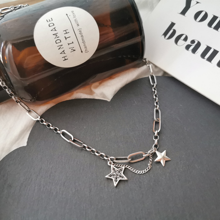South Koreas East Gate a hundred pure silver-footed silver retro do old star coin tag neck chain S925 women sweater necklace