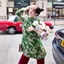 Chinese style jade green Tang suit improved cheongsam 2021 New Chinese silk long vintage coat coat women