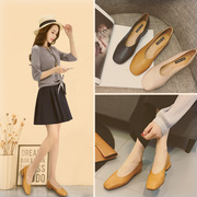 2017 new spring shoes shoes with thick shallow mouth grandma square shoes slip on shoes all-match.