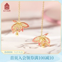 (Forbidden City Taobao) Goulian EAR thread-gold-plated Chinese style antique earrings earrings long face thin