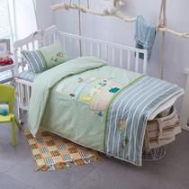 绣花水洗纯棉婴儿宝宝被子三件套 幼儿园全棉床品被褥七件套棉花