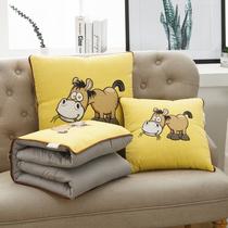 纯棉抱枕被子两用靠垫靠枕头被午休汽车上折叠午睡空调被全棉儿童