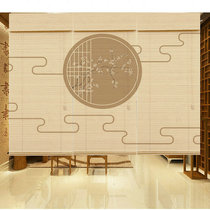 Custom-printed shade mountain water retro decorative roll curtain living room hanging painting tea room cut off Chinese bamboo curtain curtains