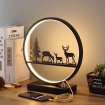 Настольная лампа спальня прикроватная лампа простой современный скандинавский американский творческий олень гостиная сенсорный пульт дистанционного управления затемнения круглый свет
