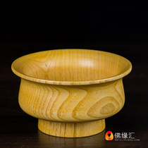 Buddha-rim Tibetan wooden bowl natural peach Butter Tea Tsampa bowl guru for Buddha Rice bowl diameter 12.8cm
