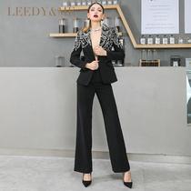 LEEDY-ME моды глубокий V воротник талии ручной заказ бисером костюм прямые брюки набор властный красивый коммутируют