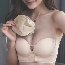 Strapless bras gather anti-slip thin inflatable pad large chest wedding dress dedicated to invisible small chest paste underwear women