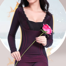 Warm underwear women plus velvet plus thick spontaneous hot suit tight body slim lady cold autumn winter