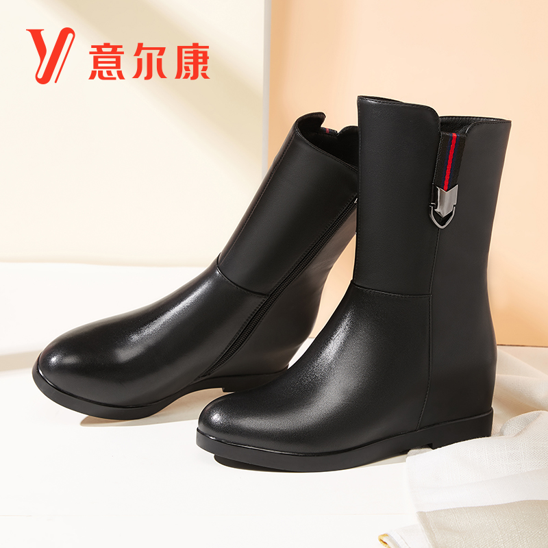 Yierkang women's shoes 2018 winter new real leather women's boots casual high-heeled boots fashion wild thin boots