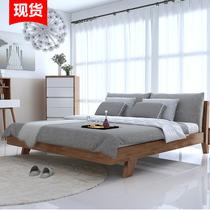 Nordic wood bed master bedroom 1 8M1 5 M 1 2 economy Japanese simple modern double IKEA Oak Wedding bed