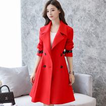 Autumn and winter red woolen coat door outfit Bridal wedding dress dinner party birthday coat