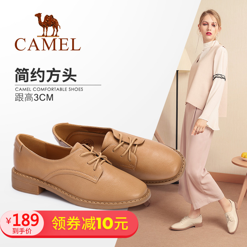 Camel women's shoes 2018 autumn new casual shoes fashion comfortable low with Korean version of the wild square head with a single shoes women