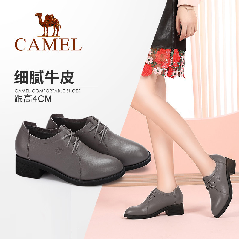 Camel women's shoes Spring and autumn wild fashion British wind comfortable thick with single shoes women Retro lace casual shoes women