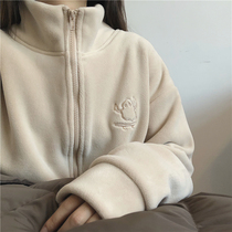 muzi 21 winter giant warm small stove thickened Olly velvet turtleneck zip sweater cardigan womens warm fleece jacket