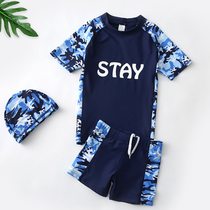 Childrens swimsuit Boys summer middle school boys boys fat students Teenagers split swimming trunks suit equipment sunscreen swimsuit