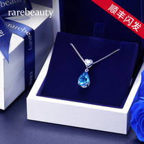 Sterling Silver Collarbone Necklace Ladies Summer 18K Platinum Topa Stone Pendant 2021 New Fashion Birthday Gift for Girlfriend