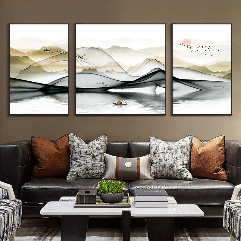 New Chinese Living Room Decoration Painting Sofa Background Wall Painting Modern Simple Landscape Painting Office Atmospheric Fresco