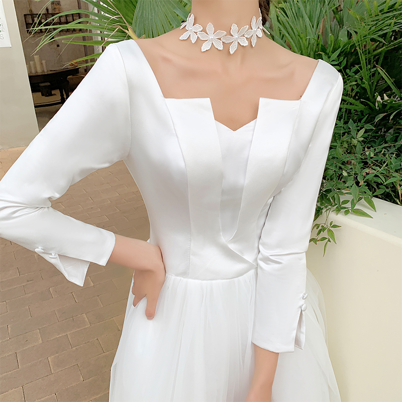 French light wedding dress 2020 new bridal temperament dress dreamy Sen system super fairy simple little man go out yarn girl