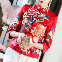 Chinese embroidered coat womens short retro small cotton-padded jacket Tang womens winter dress Chinese style thick cheongsam national clothing