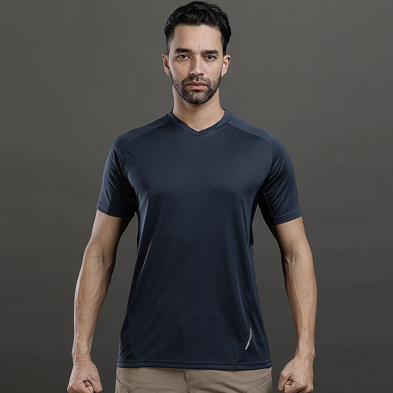 Long Ya Three Generation Apollo POWER GRIDV T-shirt Men with Breathable Short Sleeve V-neck Tactical T-shirt