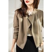 WK early Autumn New JIN mouth lambskin ~ leather leather leather female temperament Penny short jacket jacket P21865