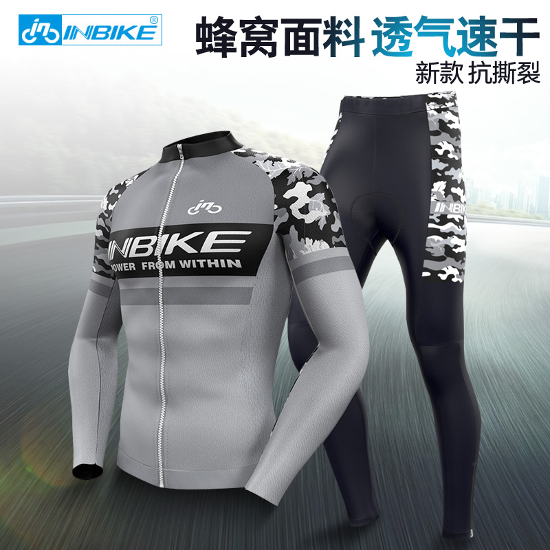INBIKE Summer Spring and Autumn Long Sleeve Cycling Suit Men's Mountain Bike Road Bicycle Clothing Clothing Bicycle Clothing