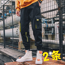 Overalls pants mens Korean version of the trend of the Fall Super fire cec net Red nine points loose feet Tide brand casual pants